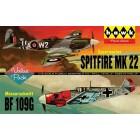 Lindberg 2 pack WWII Spitfire/Me109 - 1/72